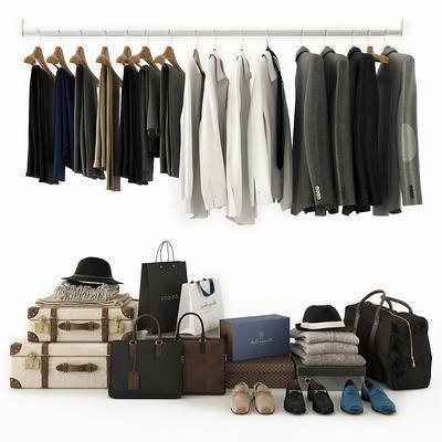 衣帽架, 袋, 鞋盒, 旅行包, 旅行箱, 衣架, 帽子, 服装, 服饰, 鞋子, 现代