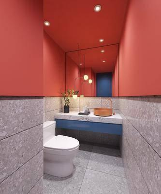 淋浴房, 洗手间, 洗手台, 吊灯, 摆件, 装饰品