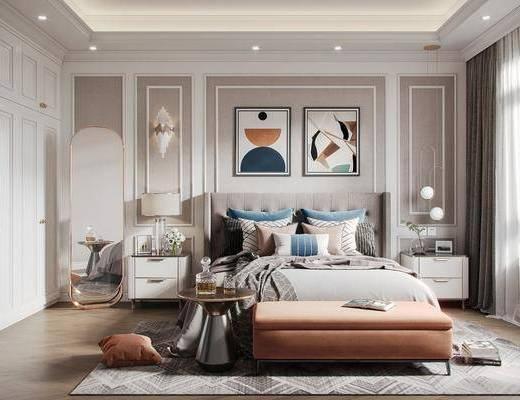 双人床, 床尾踏, 地毯, 壁灯, 装饰画, 衣柜, 茶几