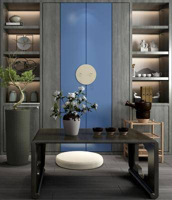 茶几, 新中式茶几摆件组合, 装饰柜架, 茶具, 植物盆栽
