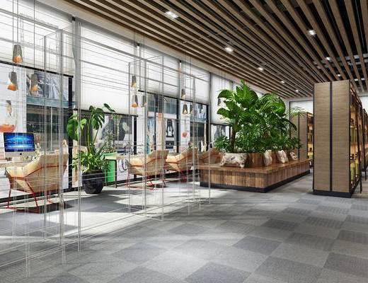 展览室, 图书馆, 书架, 植物, 桌椅组合