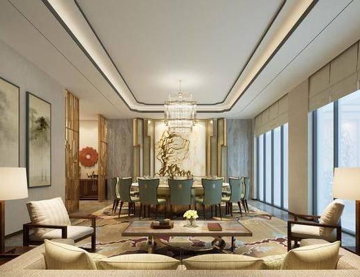 新中式餐厅, 包房, 包厢, 包间, 餐桌椅, 桌椅组合