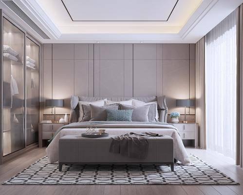 现代, 卧室, 双人床, 床尾凳, 衣柜, 床头柜
