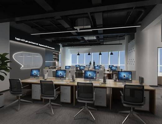办公大厅, 办公椅, 单人椅, 盆栽, 绿植植物, 电脑, 办公桌, 现代