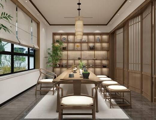 茶室, 茶桌, 桌椅组合, 吊灯