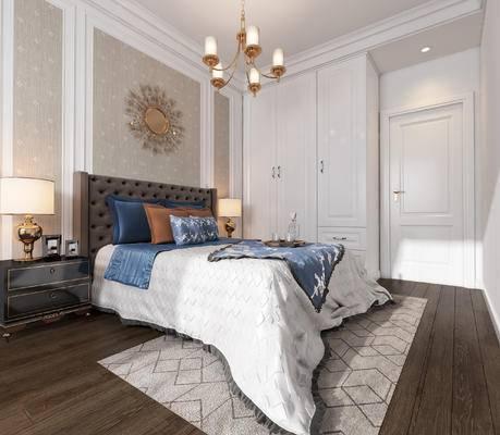 简欧卧室, 卧室, 床, 床头柜, 台灯, 欧式吊灯, 墙饰