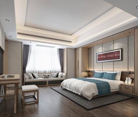 酒店客房, 床具組合, 桌椅組合, 沙發組合, 沙發茶幾組合, 新中式