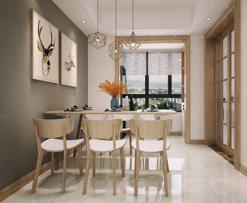 餐厅, 北欧餐厅, 餐桌椅, 椅子, 挂画, 装饰画, 吊灯