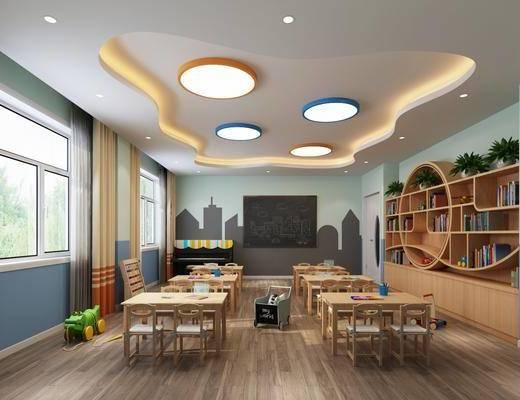 幼儿园, 教室, 桌子, 单人椅, 书柜, 装饰柜, 书籍, 盆栽, 绿植植物, 吸顶灯, 现代