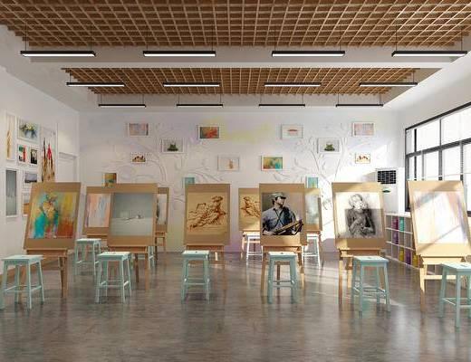 画室, 教室, 现代, 画架, 装饰画, 凳子