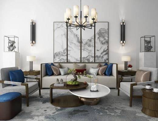 沙发组合, 多人沙发, 茶几, 边几, 台灯, 单人沙发, 装饰画, 组合画, 壁灯, 吊灯, 摆件, 装饰品, 陈设品, 新中式