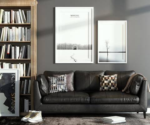 沙发组合, 布艺沙发, 双人沙发, 沙发, 现代, 北欧, 书柜, 装饰柜, 书籍, 装饰画, 挂画