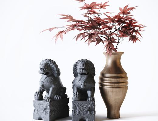 雕塑, 花瓶, 植物, 石狮子