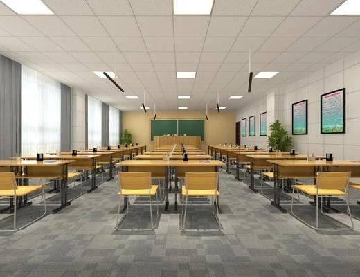 学校教室, 书桌椅组合, 现代