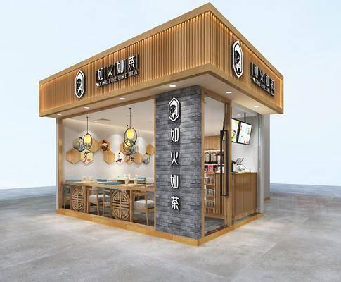 新中式, 奶茶店, 餐桌椅, 墙饰, 吊灯