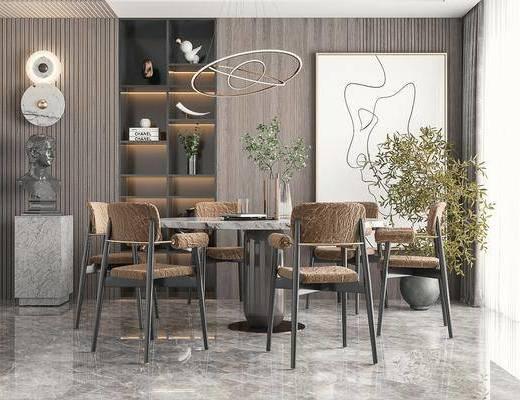 现代餐厅, 餐桌椅, 吊灯, 植物, 挂画, 雕塑