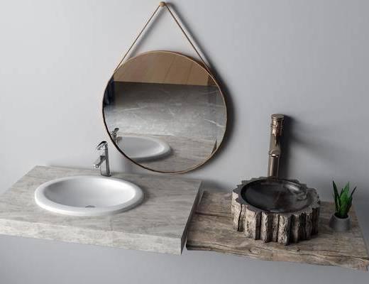 台盆组合, 洗手盆组合, 装饰镜, 洗手台, 新中式