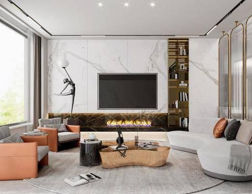 现代客厅, 沙发, 茶几