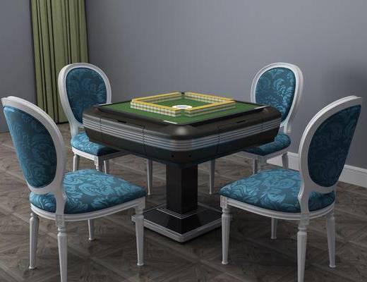 简欧麻将桌, 麻将桌, 桌椅组合