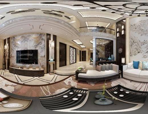 客厅, 餐厅, 家装全景, 多人沙发, 茶几, 躺椅, 边几, 台灯, 壁灯, 电视柜, 边柜, 单人椅, 装饰架, 摆件, 装饰品, 陈设品, 新中式