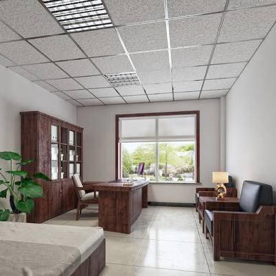 中式, 领导办公室, 老总室, 总经理室, 董事长室, 局长室, 矿棉板吊顶, 现代, 新中式