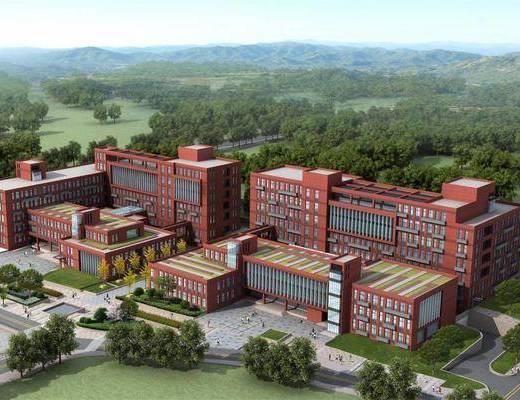 小学, 教学楼, 建筑外观, 操场
