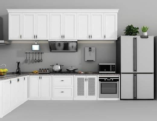 厨房, 橱柜, 装饰柜, 冰箱, 摆件, 厨具, 装饰品, 陈设品, 现代