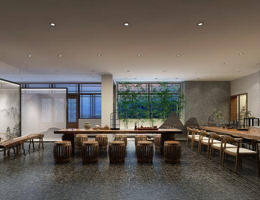 茶室, 茶馆, 茶桌, 单人椅, 凳子, 古琴, 竹子, 盆栽, 装饰柜, 摆件, 装饰品, 陈设品, 新中式