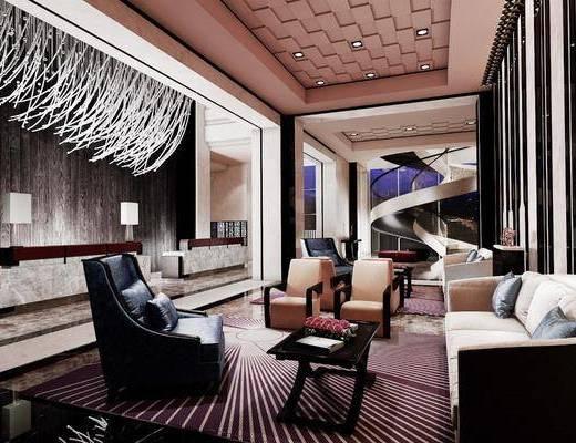 酒店会所, 洽谈区, 多人沙发, 茶几, 单人沙发, 台灯, 中式