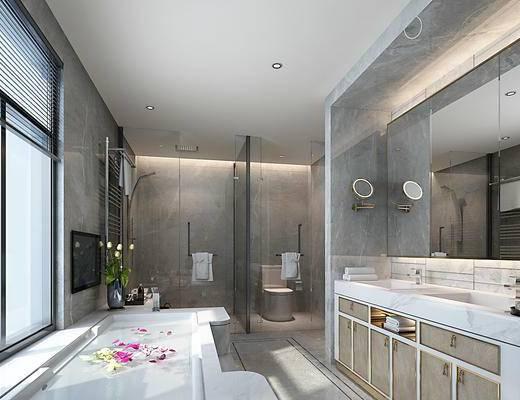 卫生间, 浴室柜, 坐便器, 淋浴房, 卷帘, 花洒
