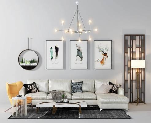 沙发组合, 沙发茶几组合, 装饰画, 吊灯, 椅子, 现代
