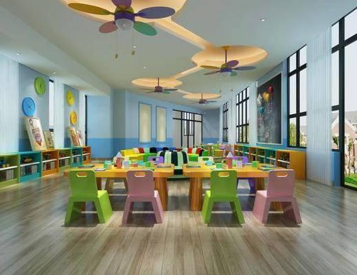 幼儿园, 教室, 桌椅组合, 书柜, 玩具, 现代幼儿园, 现代