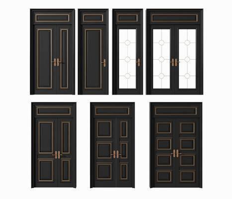 子母门, 平开门, 门组合, 双扇门, 玻璃门组合, 现代