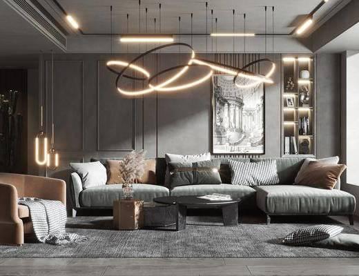 沙发组合, 抱枕, 装饰画, 茶几, 吊灯