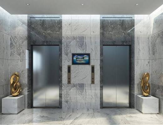 电梯门厅, 现代