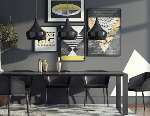 餐桌椅组合, 现代, 北欧餐桌椅, 桌子, 椅子, 单椅, 休闲椅, 吊灯, 装饰画, 挂画, 盆栽, 花瓶