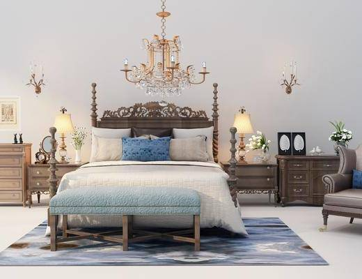床具组合, 吊灯, 床尾踏, 床头柜, 摆件组合, 单椅