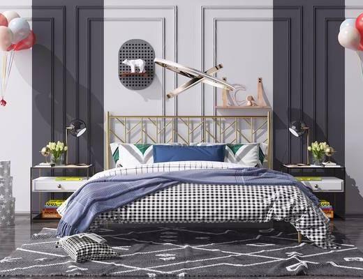 床头柜, 艺术吊灯, 气球, 床具组合, 衣柜