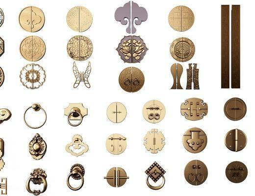 金属雕花, 雕花拉手, 中式