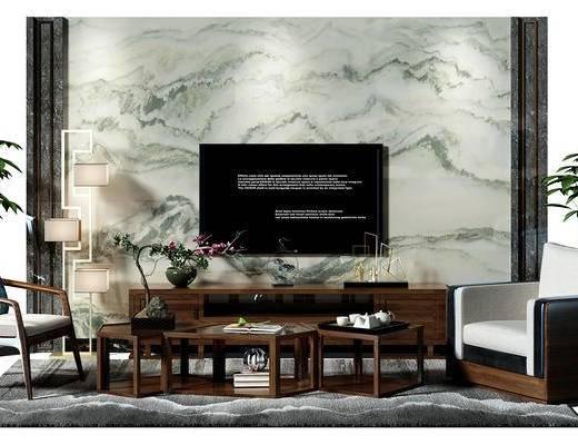电视墙, 背景墙, 电视背景墙, 茶几, 茶几组合, 椅子, 落地灯, 电视柜, 盆景, 植物, 中式, 新中式, 单人沙发