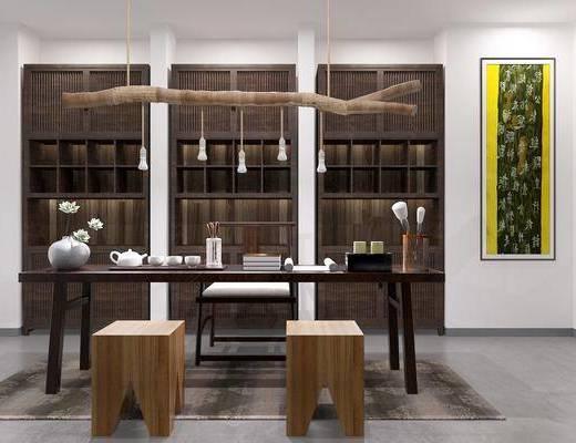 茶室, 茶桌, 单人椅, 凳子, 装饰柜, 吊灯, 装饰画, 挂画, 摆件, 装饰品, 陈设品, 新中式