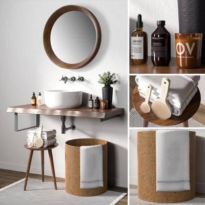 洗手台, 毛巾, 凳子, 日用品, 生活用品, 镜子, 洗手盆