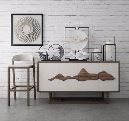 吧椅吧凳, 边柜, 单人椅, 装饰画, 挂画, 摆件, 装饰品, 陈设品, 新中式