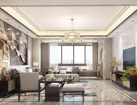 新中式客厅, 中式客厅, 客厅, 沙发组合, 沙发茶几组合