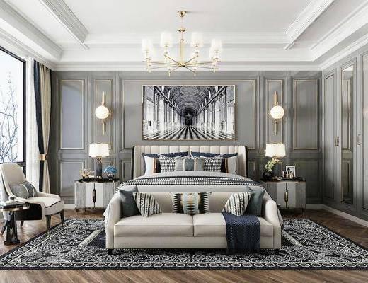 雙人床, 床具組合, 裝飾畫, 壁燈, 吊燈, 床頭柜, 臺燈, 單椅, 地毯