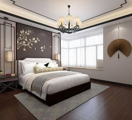 新中式, 卧室, 床具, 双人床, 床头柜, 墙饰, 背景墙, 吊灯