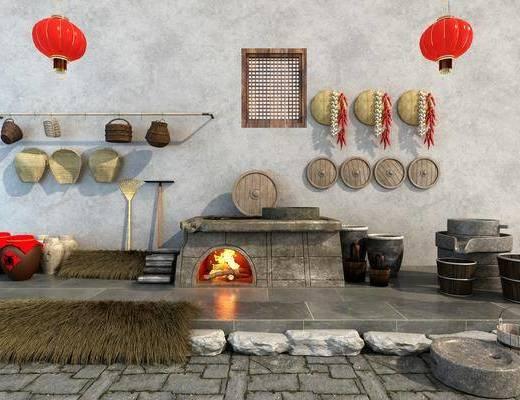 农庄山庄, 山庄用品, 墙饰, 中式
