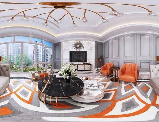 沙发组合, 茶几, 电视柜, 墙饰, 吊灯, 单椅