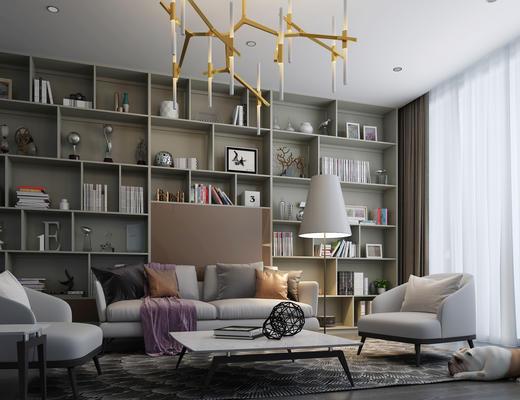 现代, 沙发, 茶几, 装饰柜, 装饰品, 灯具