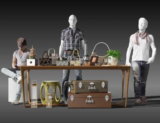 展柜, 手提包, 摆件, 装饰品, 挎包, 衣服, 裤子, 男人, 人偶, 现代, 植物, 盆栽